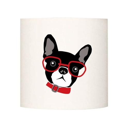 Applique le chien à lunettes rouge personnalisable