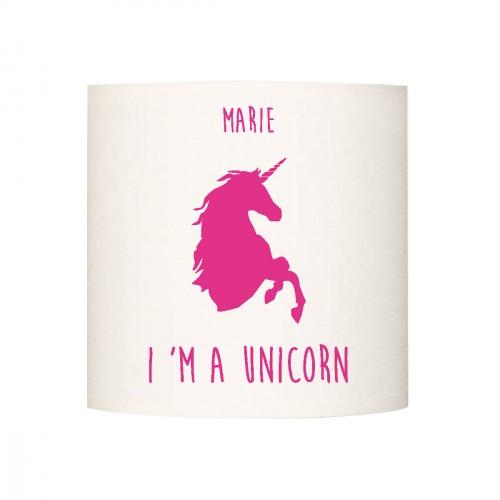 Applique lumineuse I'm a unicorn rose vif  personnalisable