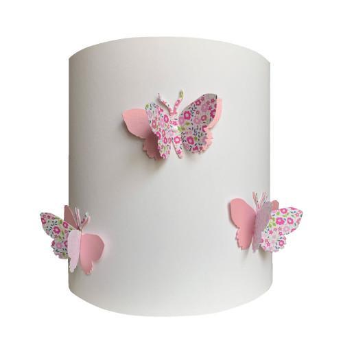 Applique papillons 3D liberty rose fond blanc