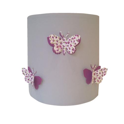 Suspension papillons 3D liberty violet fond gris