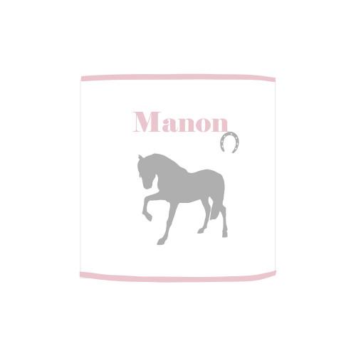 Applique lumineuse cheval gris et rose