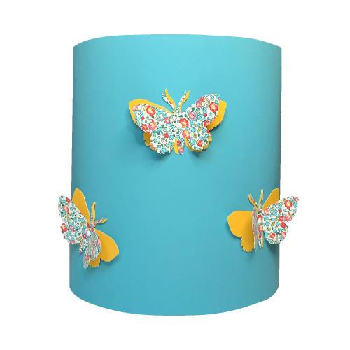 Applique papillons 3D liberty Eloise bleu et jaune