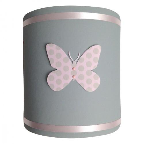 Abat jour papillons popies rose et gris
