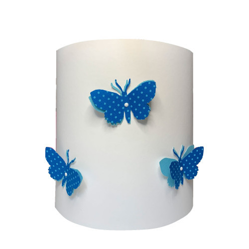 Applique papillons 3D liberty Pois bleu clair aile bleu
