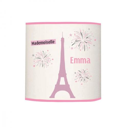 Applique lumineuse Melle Paris Tour Eiffel rose personnalisable