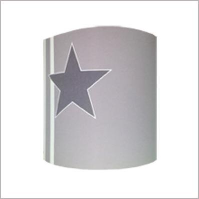 Applique etoile grise decentre  fond gris rayé personnalisable