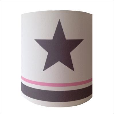 Applique etoile grise fond blanc rayé rose et gris personnalisable