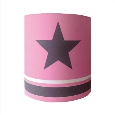 Applique etoile grise fond rose rayé rose et gris personnalisable