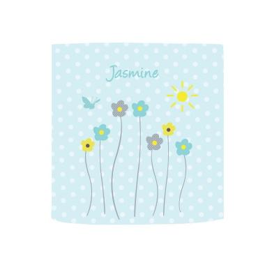 Applique lumineuse fleurs de printemps fond à pois bleu