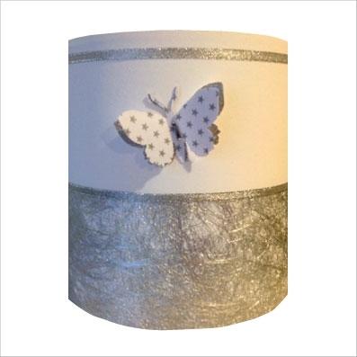 Applique papillon 3D  blanc et argent