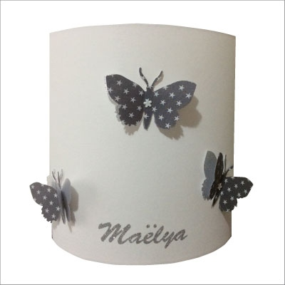 Applique papillons 3D gris étoilé et argent personnalisable