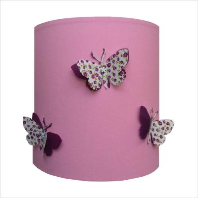 Applique papillons 3D liberty fond rose clair personnalisable