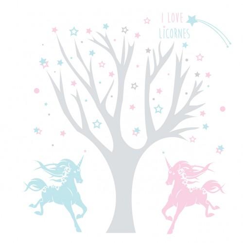 Sticker arbre à licornes