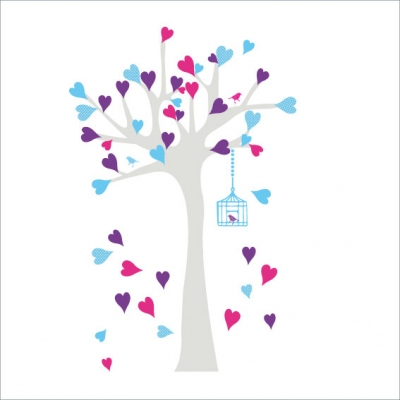 Arbre à coeurs violet, fuschia et bleu