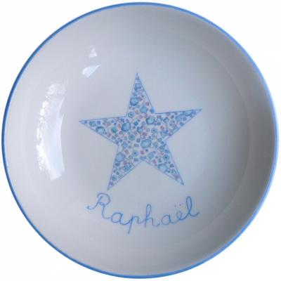Assiette étoile liberty bleue personnalisable