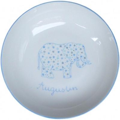 Assiette de baptême Éléphant et étoiles bleue personnalisable