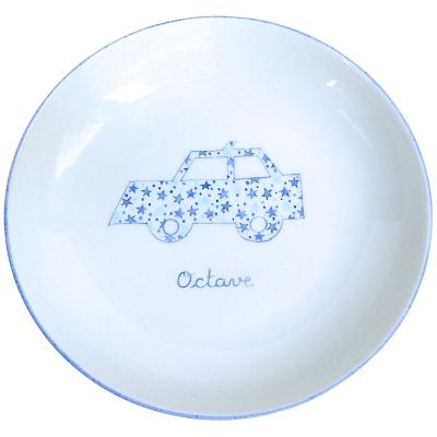 Assiette de baptême voiture et étoiles bleue personnalisable