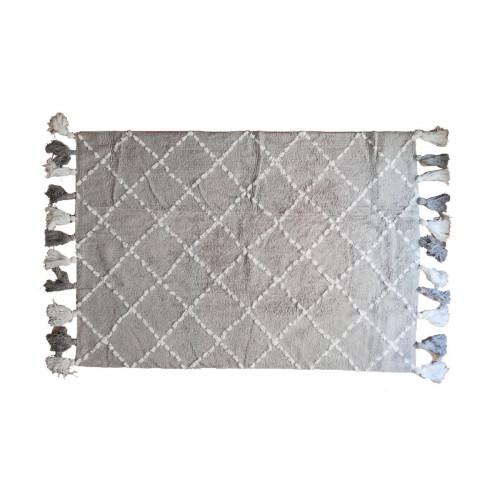 Tapis bébé coton motifs triangulaires Tanger gris