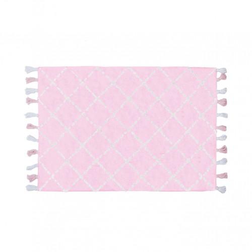 Tapis bébé coton motifs triangulaires Tanger rose