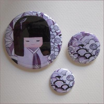 Badges assortis  kokeshi fille 8