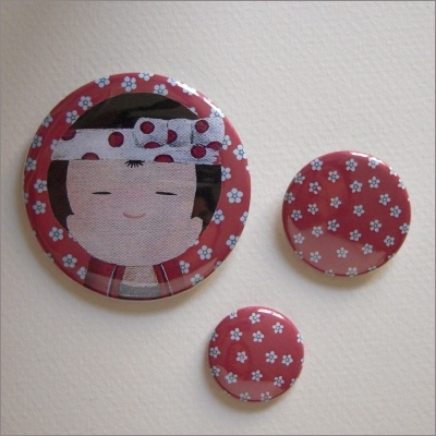 Badges assortis  kokeshi garçon 3