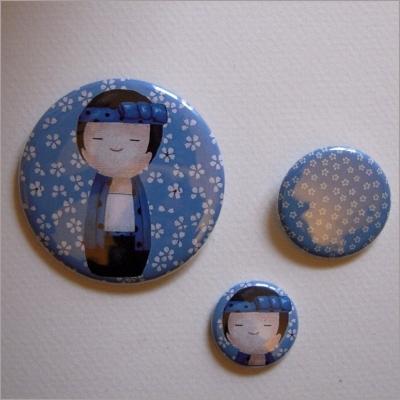 Badges assortis  kokeshi garçon 7