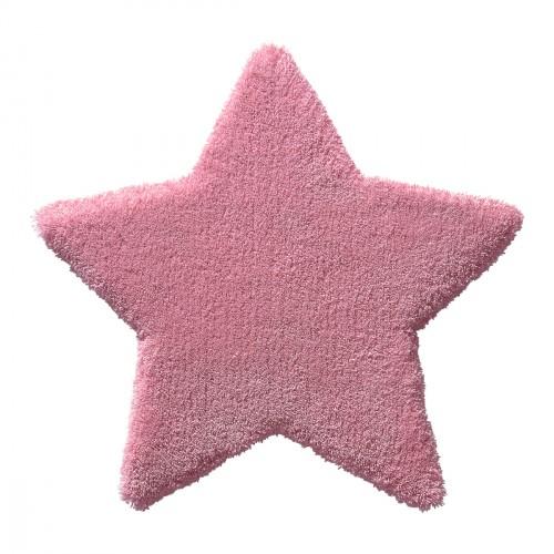 Tapis étoile Zauberstern rose en laine