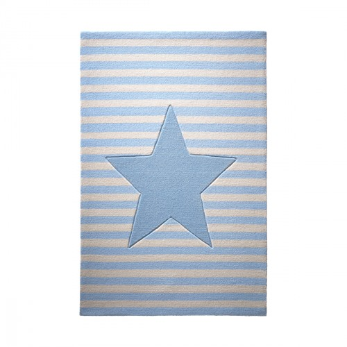 bellybutton tapis toile my little star bleu en laine. Black Bedroom Furniture Sets. Home Design Ideas