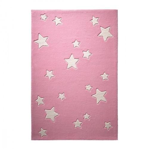 Tapis étoiles Sternenzelt rose en laine