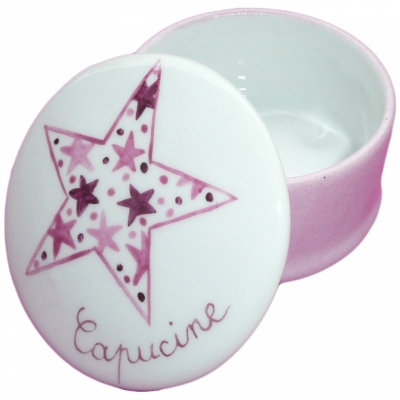 Boîte à dents étoile rose personnalisable