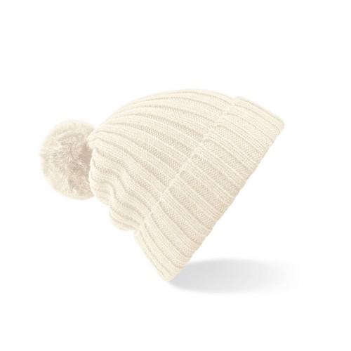 Bonnet blanc cassé avec pompon