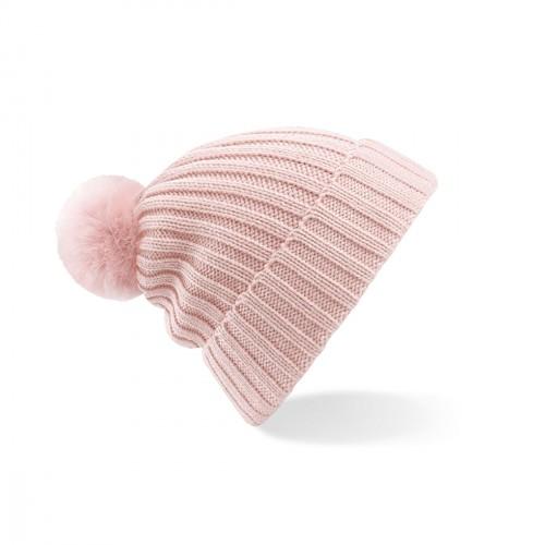 Bonnet rose pâle avec pompon