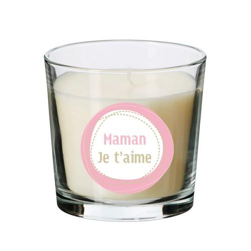 Bougie parfumée beige maman rose personnalisable