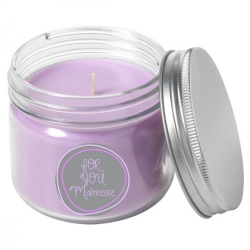 Bougie parfumée mauve maîtresse For you personnalisable