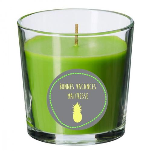 Bougie parfumée verte ananas jaune personnalisable