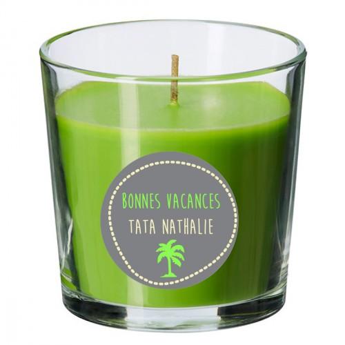 Bougie parfumée verte palmier vert personnalisable