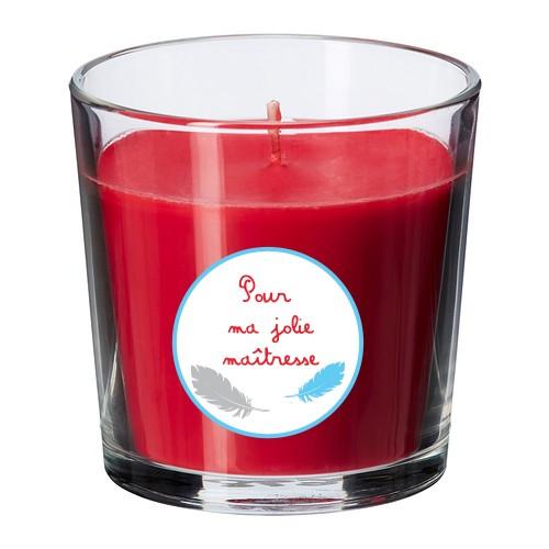 Bougie parfumée rouge maîtresse plumes bleu personnalisable