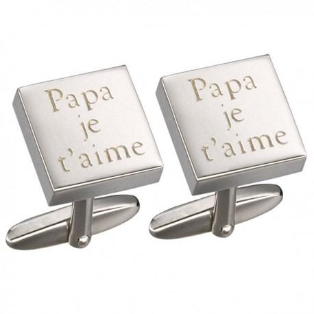 Bouton de Manchette Papa je t'aime - Gaspard