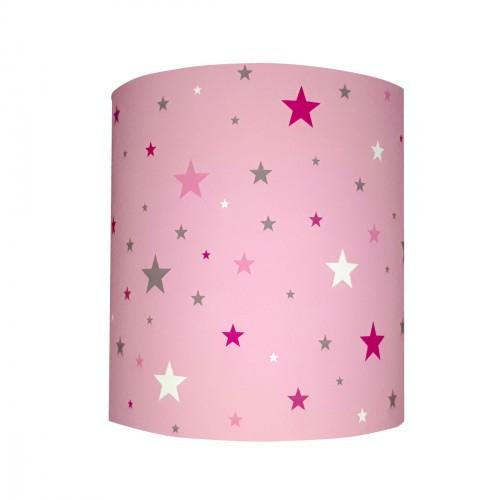 Abat jour ou Suspension ciel étoilé rose personnalisable