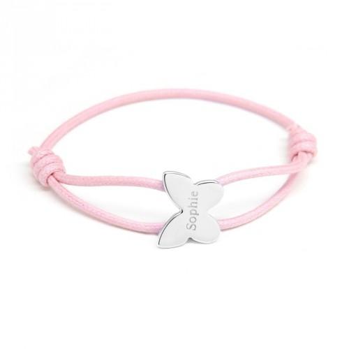 Bracelet Cordon Papillon - Argent