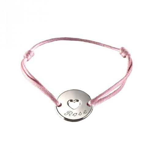 Bracelet mini jeton coeur- argent