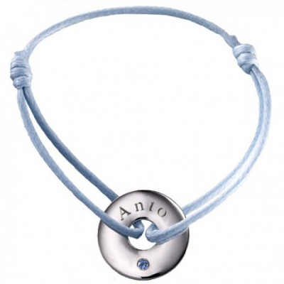 Bracelet Mini Jeton - Or Blanc Topaze