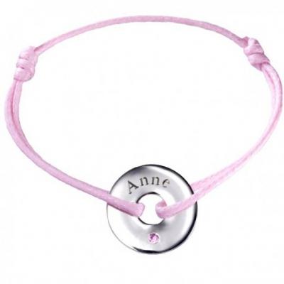Bracelet Mini Jeton - Or Blanc Tourmaline