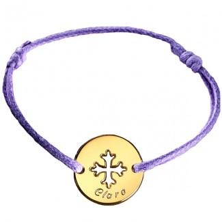 Bracelet mini jeton personalisable Croix occitane - plaqué or