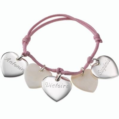 Bracelet Petits Coeurs- argent et nacre