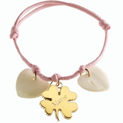 Bracelet Trèfle Lucky- plaqué or et nacre