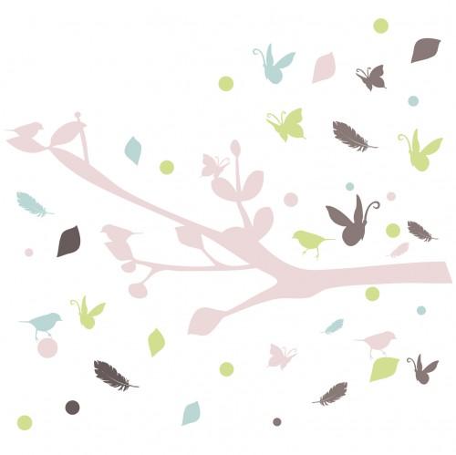 Stickers branche et oiseaux multicolore
