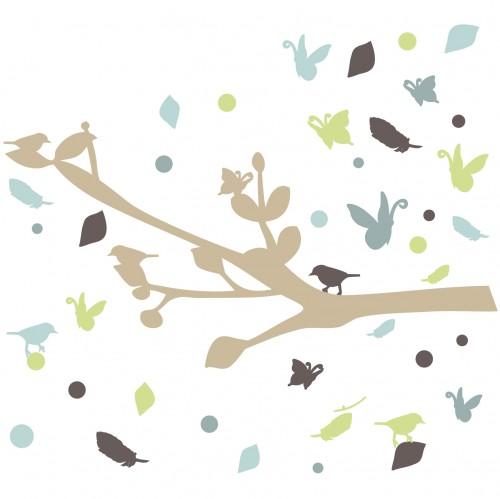 Stickers branche et oiseaux bleu
