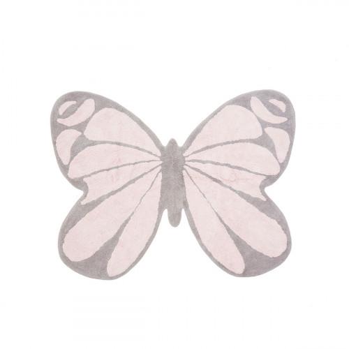 Tapis enfant coton en forme de papillon gris et rose