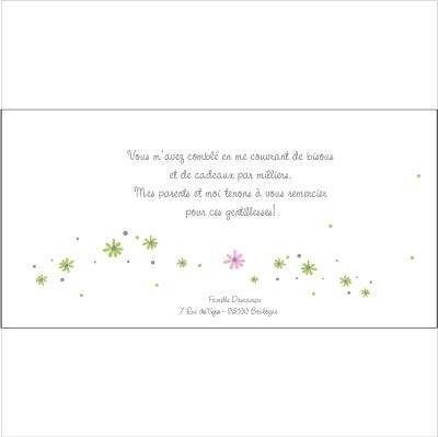 Carte de remerciements Patchwork C rose